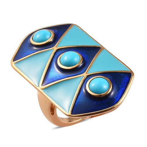 AA Sleeping Beauty Turquoise Enamelled Gladiator Ring in Gold Plated Sterling Silver,1.50 Ct