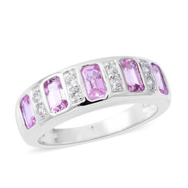 Extremely Rare Cut- 9K White Gold AA Pink Sapphire (Oct), Natural Cambodian Zircon Half Eternity Ring 1.810 Ct