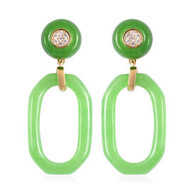 Green Jade and Natural Cambodian Zircon Earrings (with Push Back) in Yellow Gold Overlay Sterling Si