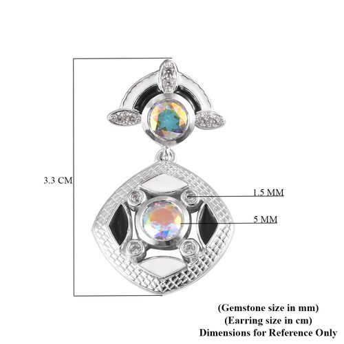 Mercury Mystic Topaz and Natural Cambodian Zircon Drop Earrings in Platinum Overlay Sterling Silver 3.50 Ct, Silver wt 7.50 Gms