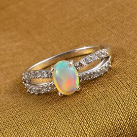 Ethiopian Welo Opal and Natural Cambodian Zircon Ring in Platinum Overlay Sterling Silver 0.900 Ct.
