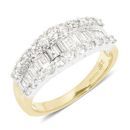 New York Close Out - 9K Yellow Gold Diamond (Rnd and Bgt) (I1-I2 /G-H) Ring 1.150 Ct.