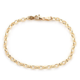 One Time Mega Deal-Royal Bali Collection 9K Yellow Gold Belcher Bracelet (Size 7.5).Gold Wt 2.20 Gms