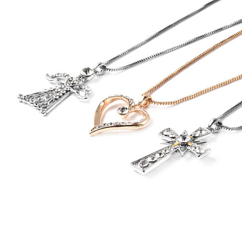 3 Piece Set - White Austrian Crystal Angel, Heart and Cross Enamelled  Pendant with Chain (Size 20 with 2.5 inch Extender) in Silver and Gold Tone