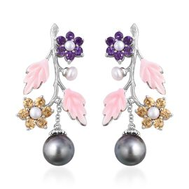 Jardin Collection - Baroque Tahitian Pearl, Pink Mother of Pearl, Freshwater Pearl, Citrine and Amet