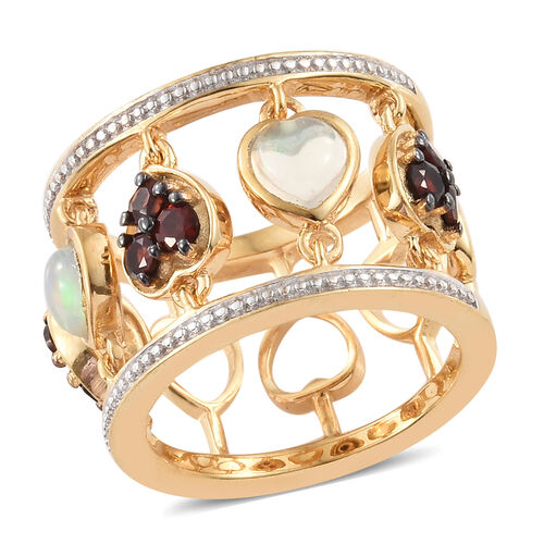 GP Ethiopian Welo Opal (Hrt), Mozambique Garnet and Kanchanaburi Blue Sapphire Heart Band Ring in 14K Gold Overlay Sterling Silver 1.500 Ct, Silver wt 7.90 Gms.