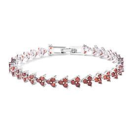 6.44 Ct Garnet Color Cubic Zircon Tennis Bracelet 7.5 Inch