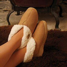 Aran Woollen Mills Suede Boot Slippers Tan