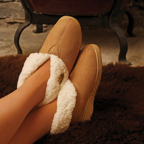 Aran Woollen Mills Suede Boot Slippers (Size: Small, L: 25Cm) - Tan