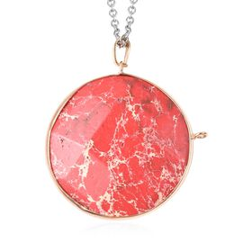 85 Carat Red Imperial Jasper Circle Pendant with Chain 24 Inch