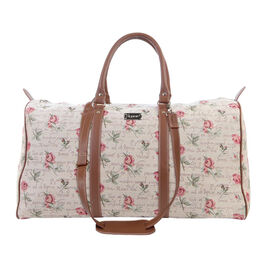 Signare - Big Holdall in Rose Pink Design with Strap (55x27x22 cms) with FREE Eco Bag - Beige and Ro