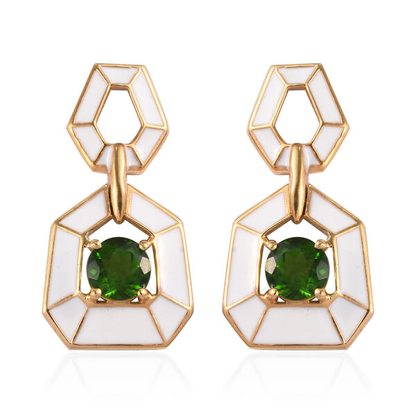 Russian Diopside Enamelled Earrings (with Push Back) in 14K Gold Overlay Sterling Silver 1.75 Ct, Si