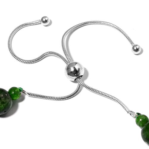 Russian Diopside (Rnd) Beads Adjustable Bracelet (Size 6- 9 inches) in Sterling Silver 61.000  Ct.