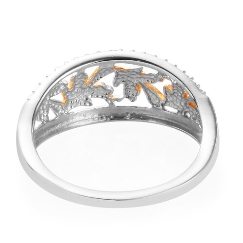 Diamond and Leaf Ring in Platinum and Yellow Gold Overlay Sterling Silver