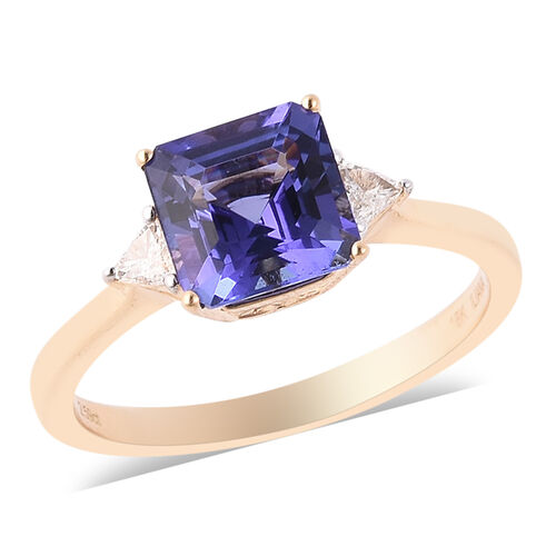 ILIANA 2.84 Ct AAA Tanzanite and Diamond Solitaire Ring in 18K Gold SI GH
