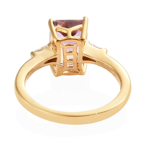 Anahi Ametrine (Oct), Natural White Cambodian Zircon Ring in 14K Gold Overlay Sterling Silver 2.500 Ct