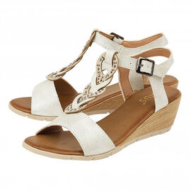 Lotus Orta White Wedge Sandals