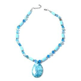 Blue Agate, Ceramic, Murano Style Glass, Simulated Aquamarine, White Austrian Crystal and Multi Colour Beads Necklace (Size 26 with 2.50 inch Extender) in Silver Bond