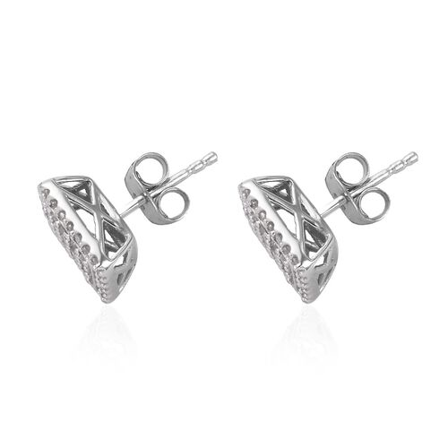 Diamond (Rnd) Stud Earrings (with Push Back) in Platinum Overlay Sterling Silver 0.48 Ct.