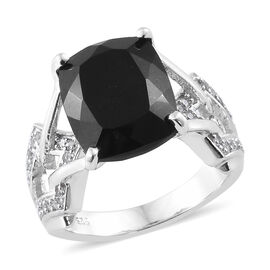 5.75 Ct Black Tourmaline and Zircon Solitaire Ring in Platinum Plated Silver 5.16 Grams