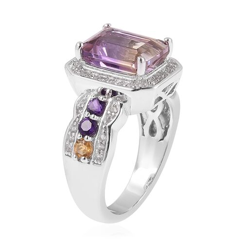Anahi Ametrine (Oct 3.25 Ct), Amethyst, Citrine and Natural White Cambodian Zircon Ring in Rhodium Overlay Sterling Silver 4.100 Ct.