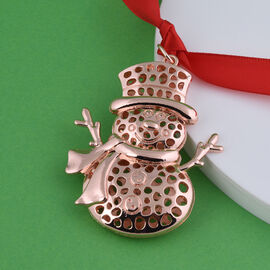 RACHEL GALLEY Lattice Snowman Charm with Ribbon in Rose Gold Tone