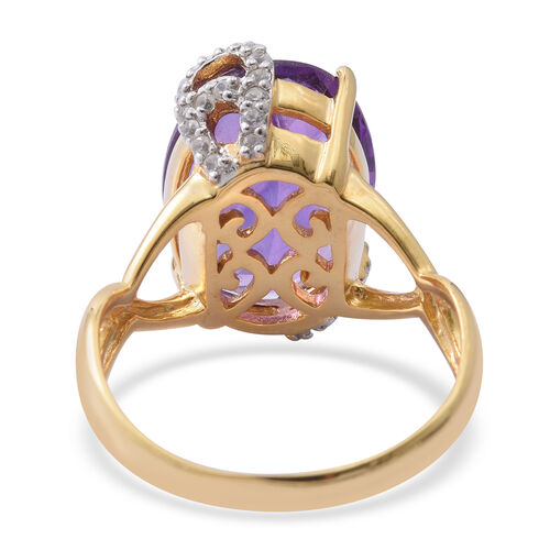 Amethyst (Ovl 7.78 Ct), Natural White Cambodian Zircon Ring in Rhodium and Yellow Gold Overlay Sterling Silver 8.240 Ct.