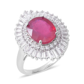 African Ruby (Ovl 7.12 Ct), White Topaz Ring in Rhodium Overlay Sterling Silver 8.920 Ct, Silver wt