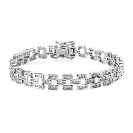 2 Carat Diamond Station Bracelet in Platinum Plated Sterling Silver 16 Grams 7.5 Inch
