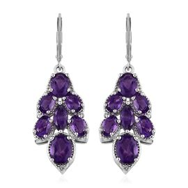Zambian Amethyst (Ovl) Lever Back Earrings in Platinum Overlay Sterling Silver 8.00 Ct, Silver wt 7.