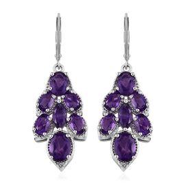 8 Carat Amethyst Cluster Drop Earrings in Platinum Plated Silver 7.17 Grams