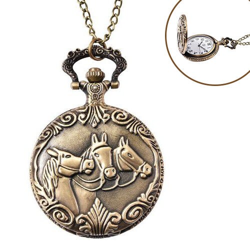 STRADA Japanese Movement Three-Horse Pattern Pocket Watch with Chain (Size 31) in Antique Bronze Ton