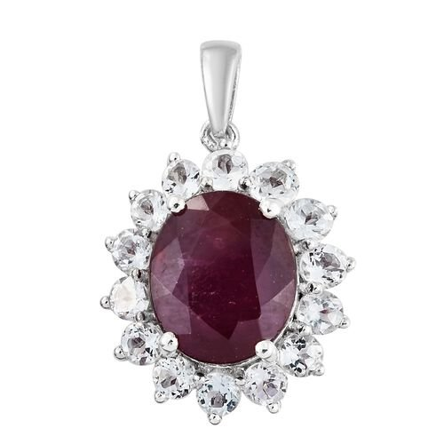 African Ruby (Ovl 6.30 Ct), White Topaz Pendant in Platinum Overlay Sterling Silver 8.500 Ct.