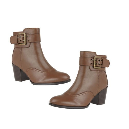 Lotus Tan Leather Lark Heeled Ankle Boots (Size 3)