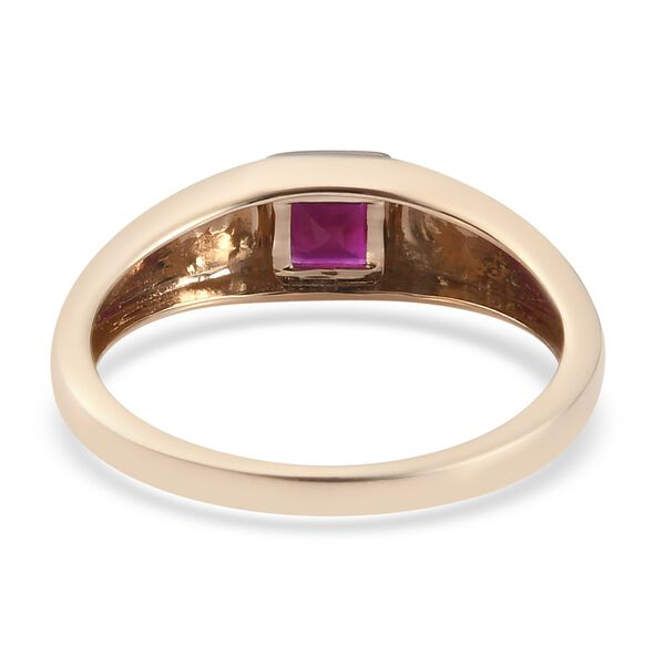 Personalised Engravable 9K Yellow Gold Burmese Ruby Solitaire Ring