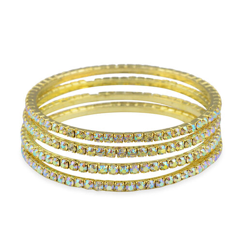 4 Piece Set Simulated Rainbow Sapphire Stacker Bangle in Gold Tone 7.25 Inch