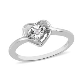 Diamond Heart Ring in Platinum Overlay Sterling Silver