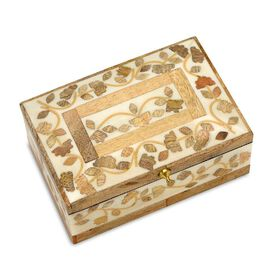 Handmade Bone and Mango Wood Inlay Storage Box (Size 15x10x6 Cm)