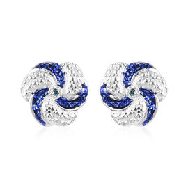 Blue Diamond Swirl Design Stud Earrings (with Push Back) in Sterling Silver