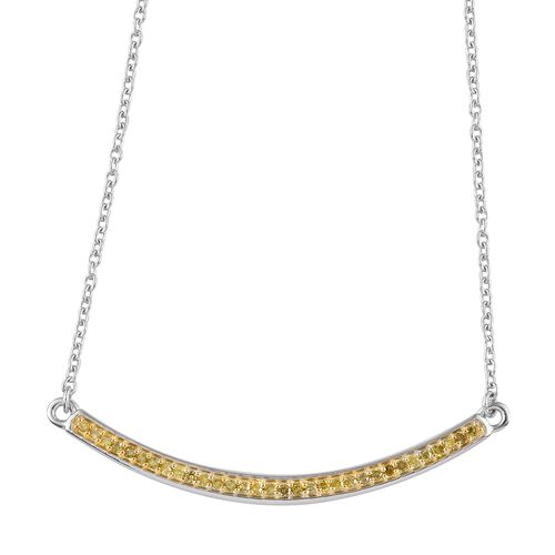 Yellow  Diamond (Rnd) Necklace with Chain (Size 18)  in Platinum and Gold Overlay Sterling Silver 0.