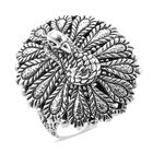 Royal Bali Collection - Sterling Silver Peacock Ring (Size S), Silver wt 10.50 Gms