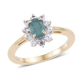 9K Yellow Gold AA Grandidierite (Ovl), Natural White Cambodian Zircon Ring 1.000 Ct.