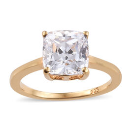 J Francis - 14K Gold Overlay Sterling Silver (Cush 8mm) Solitaire Ring Made With SWAROVSKI ZIRCONIA