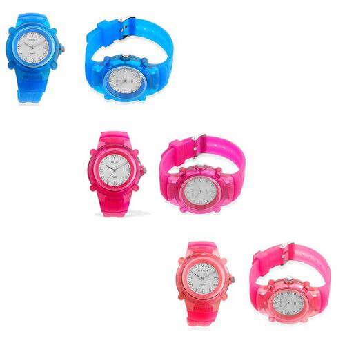 STRADA Designo Collection Precision Rubber Triple Gift Set Wrist Watches in Ice Blue, Hot Pink and Purple Burst