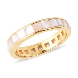 White Mother of Pearl (Sqr) Full Eternity Band Ring in Yellow Gold Overlay Sterling Silver