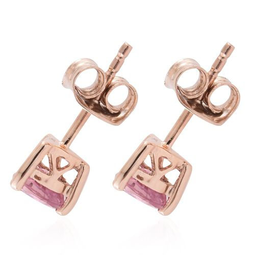 9K Rose Gold AA Pink Sapphire (Trl) Stud Earrings (with Push Back) 1.000 Ct.