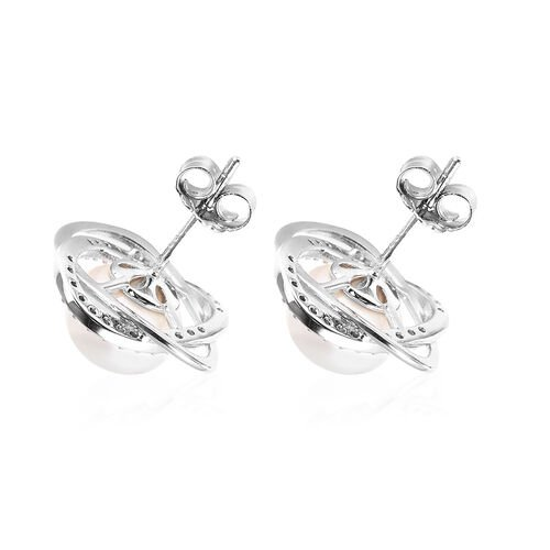 Freshwater White Pearl and Simulated Diamond Stud Earrings (with Push Back) in Rhodium Overlay Sterling Silver