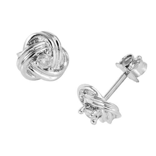 9K White Gold SGL Certified Diamond (Rnd) (I3/G-H) Earrings (with Push Back) 0.100 Ct.
