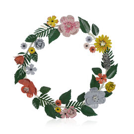 Decorative Handcrafted Flower Wreath (Size 34x32x5 Cm) - Multicolour