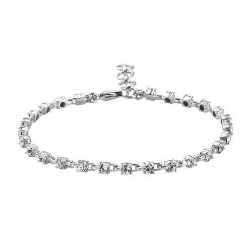 J Francis Crystal from Swarovski White Colour Crystal Bracelet (Size 7 with 1 inch Extender) in Sive